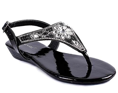 New Fashion Youth Size Casual Side Buckle Dressy Blink Kids Girls Rhinestone Sandals Shoes New Without Box (12, Black) (Side Buckle Sandal)