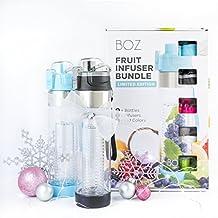 BOZ Fruit Infuser Water Bottle Limited Edition Bundle   BPA-Free, Infused Hydration Sport Bottle