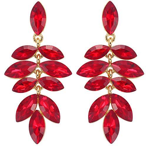 Stylebar Women Gold-tone Crystal Marquise Multi-Leaf Summer Chandelier Drop Dangling Earrings Red Dangle Earring Ruby Color (Earrings Zircon Hanging)