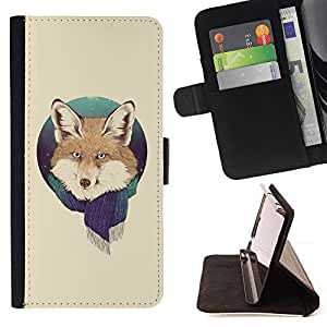 DEVIL CASE - FOR Apple Iphone 4 / 4S - Fox Portrait Foxy Scarf Winter Forest Snow Animal - Style PU Leather Case Wallet Flip Stand Flap Closure Cover