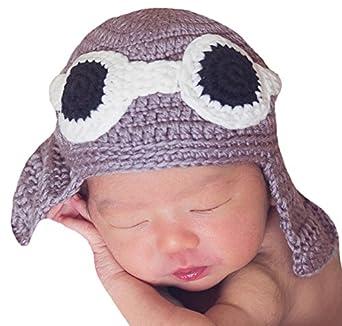 26604730a Melondipity's Aviator Pilot Newborn Boy Hand Knit Hat