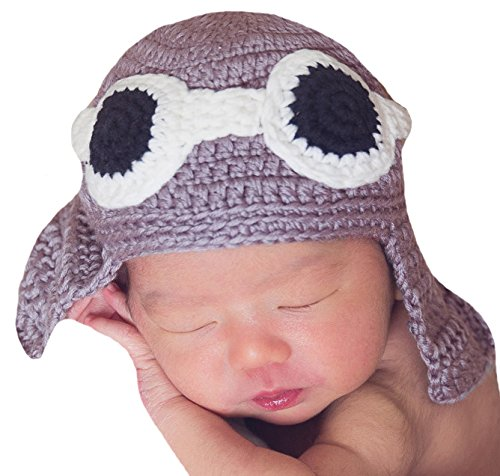 - Melondipity's Aviator Pilot Newborn Boy Hand Knit Hat
