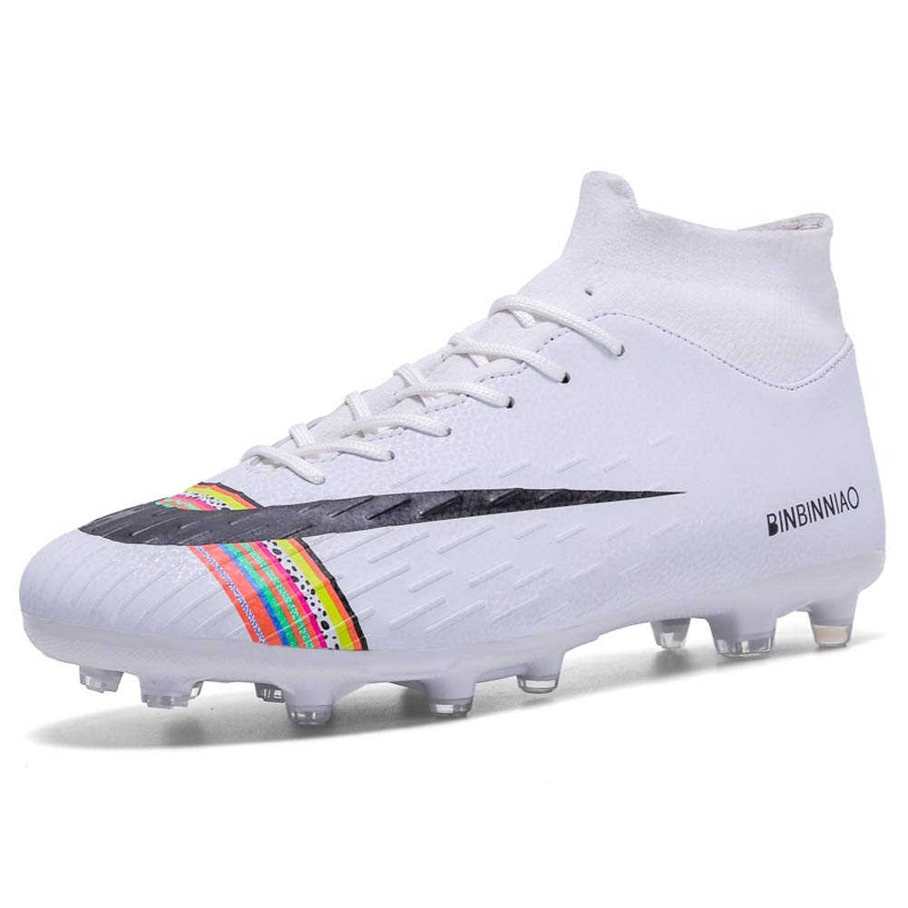 CR Soccer Shoes for Big Boy - Messi Turf Indoor Youth Football Shoes - High Top Ankle Boots Colorful Ribbon for Women - Outdoor Training TF/AG Men Size (US/6=EUR/39, White/Black) by BBN