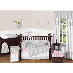 Sweet Jojo Designs Pink, White and Gray Chevron Zig Zag Baby Girl Bedding 9pc Crib Set