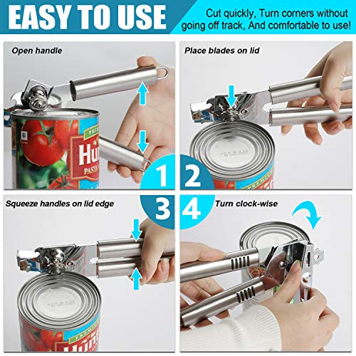 PretiHom Can Opener Manual Professional Stainless Steel Smooth Edge, Food-Safe Stainless Steel, Comfortable to grip, Dishwasher Safe, Ergonomically designed Anti Slip Hand Grip
