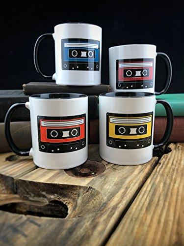 Retro Cassette Tape Mug SET OF FOUR, Ceramic - 11 oz