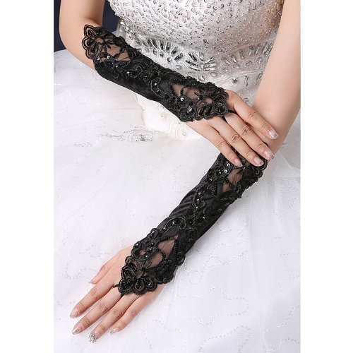 CIMC LLC Women's Fingerless Opera Lace Satin Gloves with Floral Pattern and -