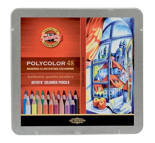 Koh-I-Noor Polycolor Drawing Pencil Set, 48 Assorted Colors in Tin, 1 Each (FA3826)