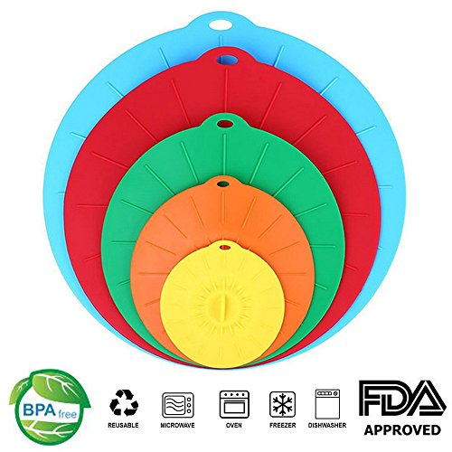 Silicone Suction Lids , Reusable Silicone Dustproof Heat-Resistant Cover , Fit Any Round Container Flat Rim, Great for Frying Pans Casseroles Woks - 5 sizes