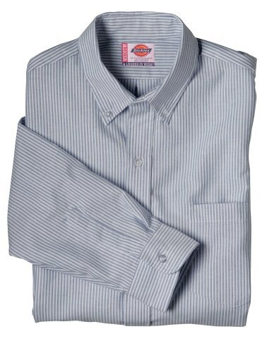 Dickies Long Sleeve Oxfords - Dickies Men's Button-Down Long Sleeve Oxford Shirt, White, Blue Stripe, 18.5 Long
