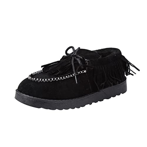 Women's Winter Boots Egmy Tassel Boots Flat Ankle Fur Lined Winter Warm Snow Shoes Lazy Shoes