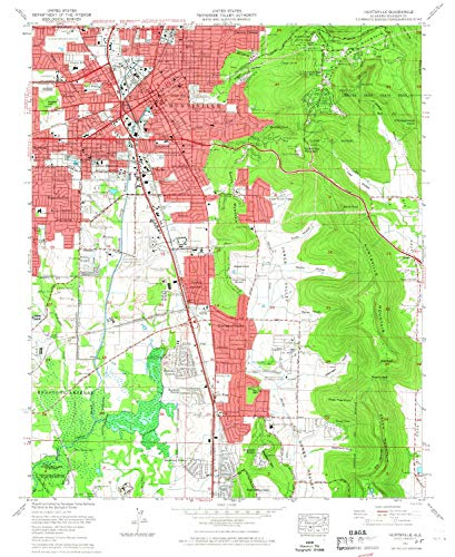 YellowMaps Huntsville AL topo map, 1:24000 Scale, 7.5 X 7.5 Minute, Historical, 1964, Updated 1966, 26.9 x 21.9 in - Tyvek