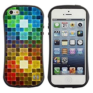 "Pulsar iFace Series Tpu silicona Carcasa Funda Case para Apple iPhone 5 / iPhone 5S , Polígono del arco iris Patrón de arte"""