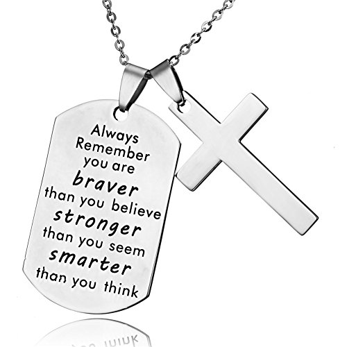 - LF Stainless Steel Name Quote Personalized Braver Stronger Smarter Engraved Dog Tag Pendant Christian Cross Sentimental Inspirational Necklace for Engagement Baptism Gift,Free Engraving Customize