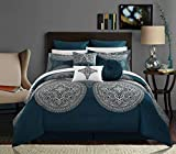 Comforter Sets King Luxury Chic Home 9 Piece Orchard Place Faux Silk Luxury Large Medalion Jacquard with Embroidery Details and Trims King Comforter Set Blue