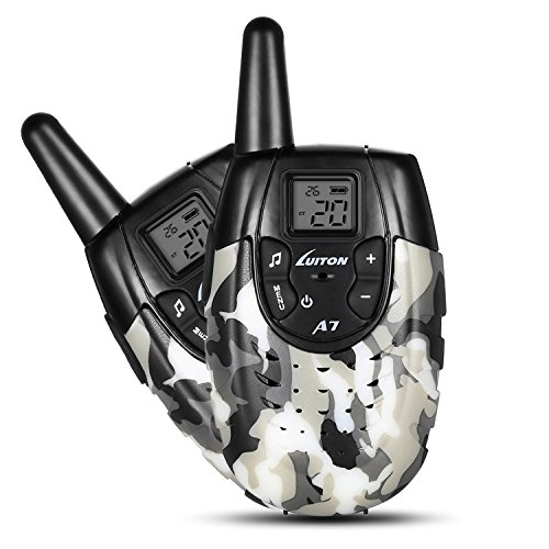 4 Channel Voice Activated Intercom (Chliste Walkie Talkies For Kids,22 channels for FRS / GMRS 2 Way Radio Up to 2 Miles UHF Handheld Walkie Talkie Outdoor Toys With Rechargeable Battery Luiton A7(Gray White Camo 1 Pair))