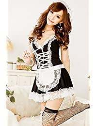 FOREVER YUNG Women's Sexy Housemaid Cosplay Gauzy Adult Lingerie