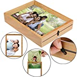 Sikye Wood Picture Frame - Square Family Photo Frame with Clear Plastic Front Display Wall Room Decor (B (7 Inch))