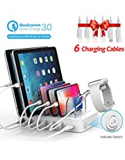 Soopii Quick Charge 3.0 60W/12A 6-Port USB Charging Station Organizer for Multiple Devices, 6 Short Charging Cables Included, I Watch Charger Holder,for Phones, Tablets, and Other Electronics,