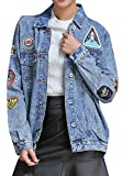 SYTX Womens Hip Hop Washed Badge Retro Lapel Collar Denim-Jackets 1 M