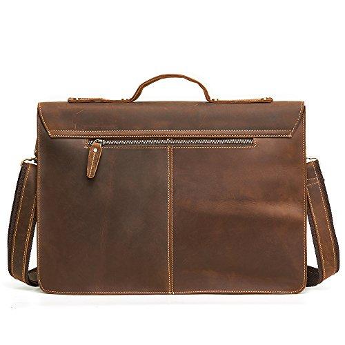 Mens Business Leather Messenger Bag Lock Leather Briefcase Satchel Shoulder Bag Bookbag