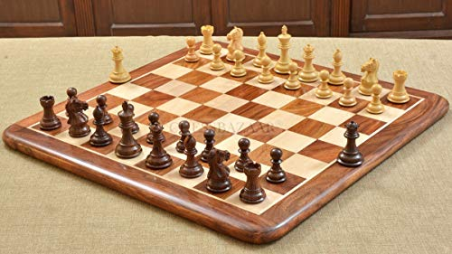 """The Contemporary Staunton Series Weighted Chess Pieces with Board Combo in Sheesham & Box Wood - 3"""" King"""