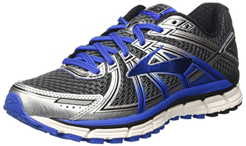 Men's Brooks Adrenaline GTS 17 Running Shoe Anthracite/Electric Brooks Blue/Silver Size 10.5 M US