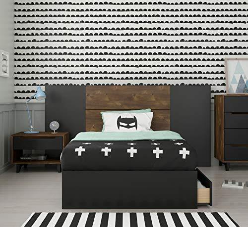 Nexera Liberia 4 Piece Twin Size Bedroom Set, Truffle & Black
