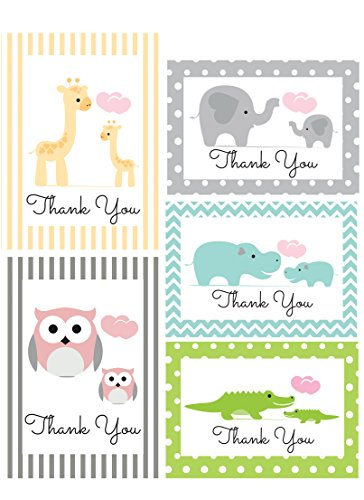 Thank You Cards Assortment for Baby, Shower, Kids - Animal Safari - Bulk, 50 Note Card Boxed Set, 4.75 x 3.5 Cards are Blank Inside with White Envelopes - Made in the USA