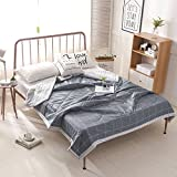 Lightweight Soft Summer Quilt Blanket Cotton Plaid Comforter Modern Reversible Men Boys Quilt Bedspread Luxury Grey Grid Comforter Coverlet Perfect for Bed Sofa Couch Office, 150x200cm, Style3
