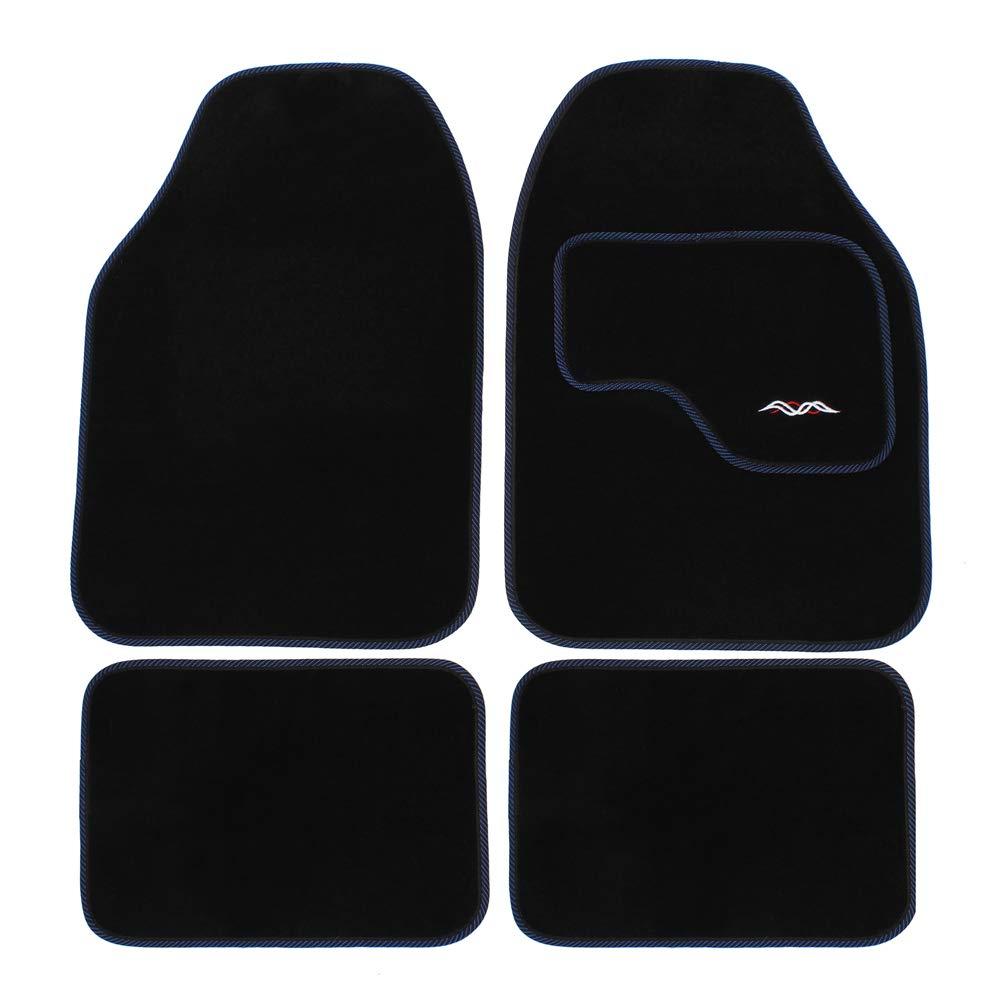 JVL 01-600 Rubber and Carpet Universal Car Mat Contour Luxury Set, 4 Pieces, Black