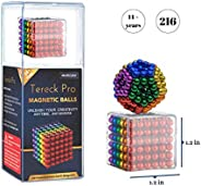 TereckPro Magnetic Balls 5mm 216 Count, Fidget Toys for Adults, Multicolored Kinetic Desk Toy Rare Earth Magne