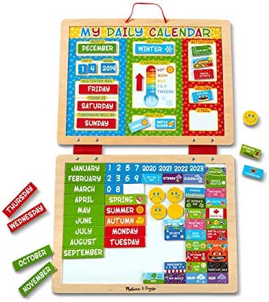 Melissa & Doug My Magnetic Daily Calendar, Seasonal & Religious (Daily Magnetic Calendar, Fabric-Hinged Dry-Erase Boards, Great Gift for Girls and Boys - Best for 3, 4, 5, 6, and 7 Year Olds)