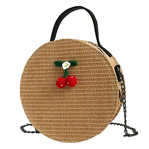 body Bags for Women,iOPQO Vine Simple Weave Round Tote Bag Shoulder Bag ()