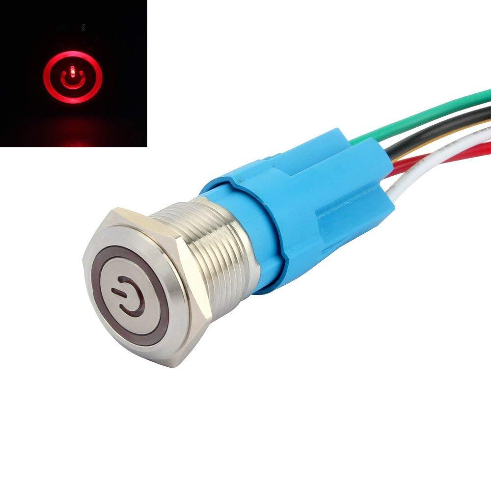 SENZEAL Acier inoxydable 16mm 12V Symbole de puissance Verrouillage Bouton-poussoir sur on off Angel Eye LED Blanc SZ-286