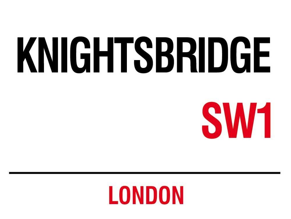Londra–KNIGHTSBRIDGE–Targhe in metallo Nostalgia–Dimensioni 20x 15cm empireposter