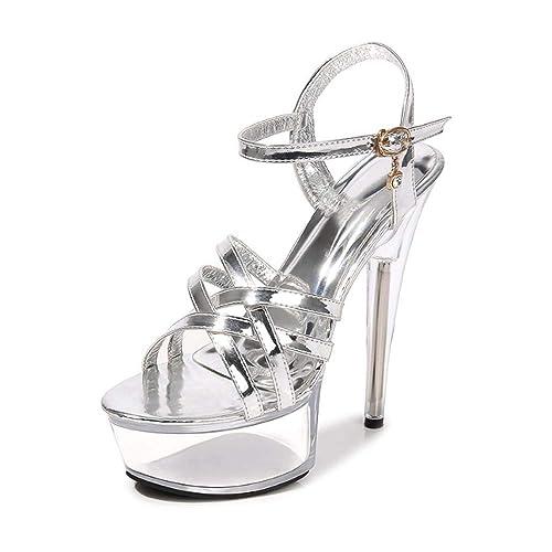 nouveau style c1c0f c8335 Sandales Mariage De Talon Haut Aiguille Escarpin Femmes Plateforme Epais  Sexy Soirée
