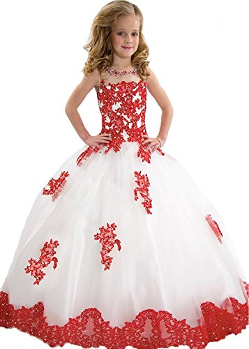 BFB Big Girls' Ball Gown Flower Appliques Wedding Pageant Dresses (8, White Red)