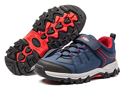 BMCiTYBM Kids Running Hiking Shoes Boys Youth Athletic Outdoor Waterproof Sneakers Navy Size 1.5