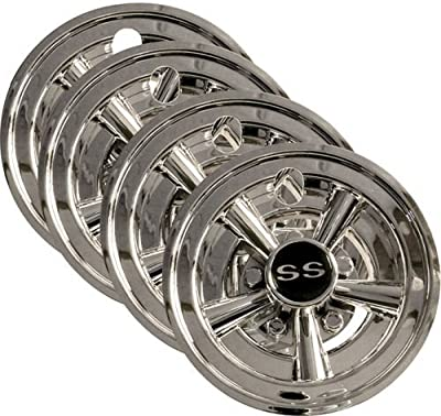 "4x 8"" Chrome Golf Cart Wheel Covers for EZGO, Club Car, + Yamaha Carts"