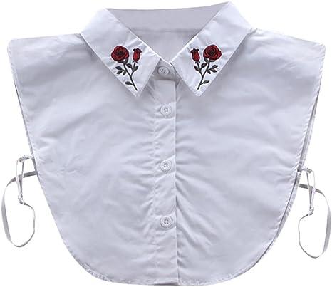 Collar, hunpta Mujer Nueva Blusa falso cuello ropa camisa desmontable anillas rosa blanco, blanco: Amazon.es: Deportes y aire libre
