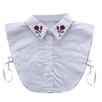 Collar, hunpta Mujer Nueva Blusa falso cuello ropa camisa desmontable anillas rosa blanco, blanco