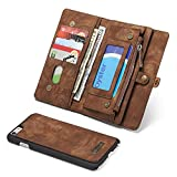 iPhone 6s Plus / 6 Plus Wallet Case Flip Magnetic Detachable,SAVYOU 2 in 1 Luxury Series Premium Vegan Leather Folio Wallet Card Holder Stand Soft PC Back Cover Brown