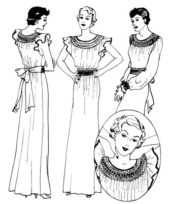 1930s Fashion Colors, Clothing & Fabric 1930s Smocked Nightgown Pattern $17.95 AT vintagedancer.com