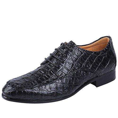 Charm Foot Mens Lace Up Business Lage Hak Formele Oxfords Schoenen Zwart