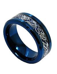 NELSON KENT Men 8mm Tungsten Wedding Band Dragon Inlay Blue