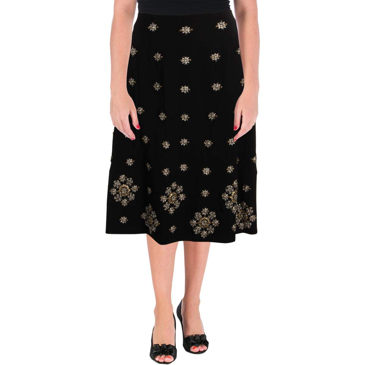 Black Elizabeth and James Womens Lottie Embellished Night Out Midi Skirt