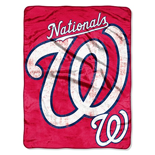 Officially Licensed MLB Washington Nationals Triple Play Micro Raschel Throw Blanket, 46