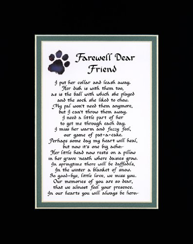 Farewell Dear Friend Female Dog Memorial Wall Decor Poem Pet