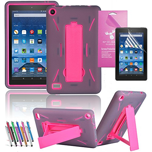 "Amazon Fire 7"" 2015 Case, EpicGadget(TM) 5th Generation Fire 7 Heavy Duty Hybrid Case Full Protection Cover with Kickstand For Fire 7 inch Display + Screen Protector and 1 Stylus (US Seller)Gray/Pink"
